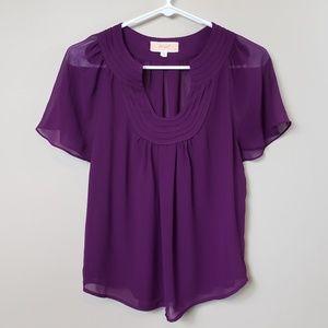 Lost April Purple Flutter Sleeve Blouse